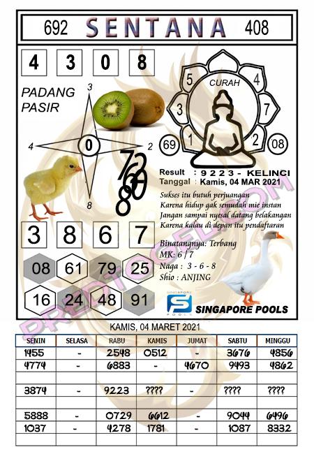 Syair Sgp Sentana Kamis 04-Mar-2021