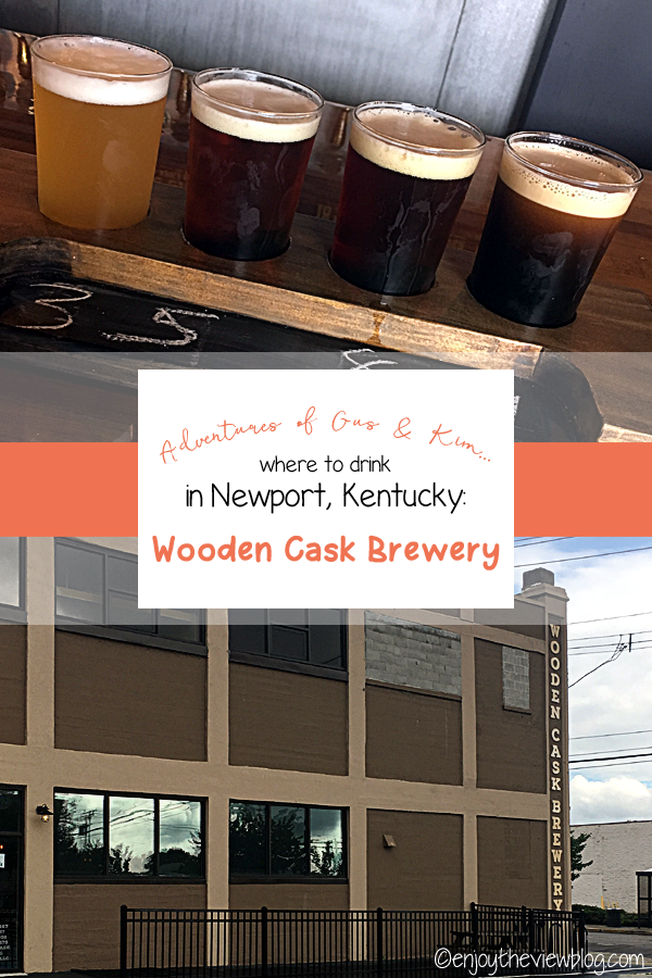 "infographic with a photo of four glasses of beer at the top and a brown brick building that says ""Wooden Cask Brewery"" at the bottom"