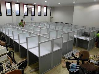Kontraktor Meja Partisi 1 x 2 Untuk 2 orang berhadapan  + Furniture Semarang ( Kontraktor Interior )