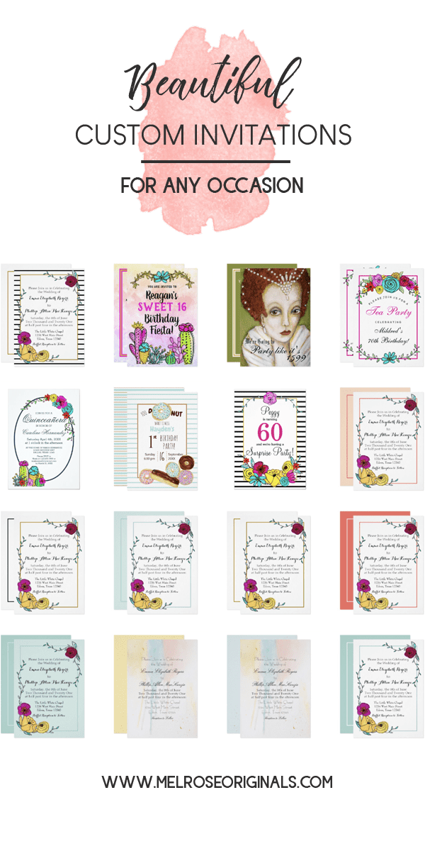 product grid image of unique beautiful fully customizable invitations from Melrose Originals