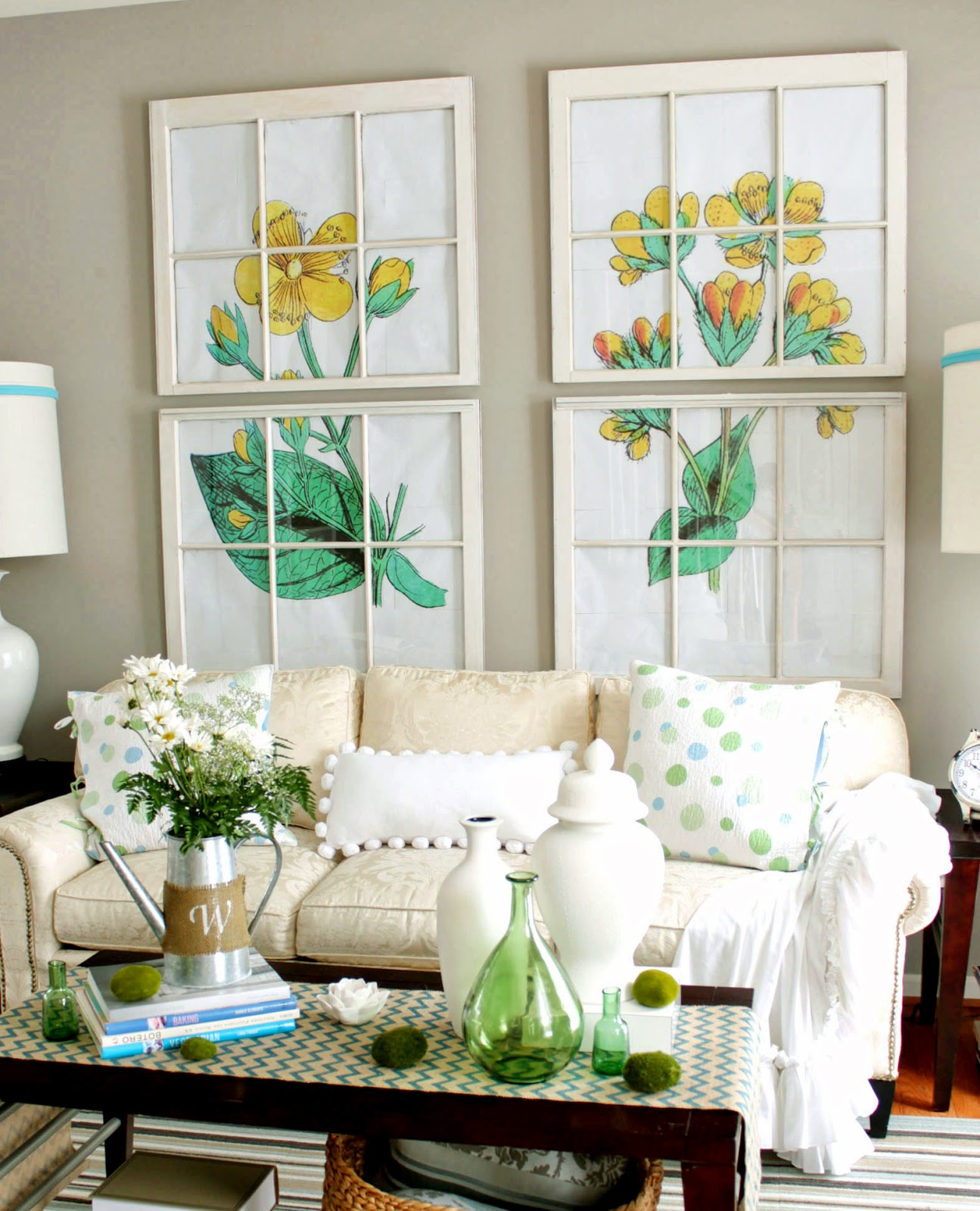living room, white sofa, coffee table vignette