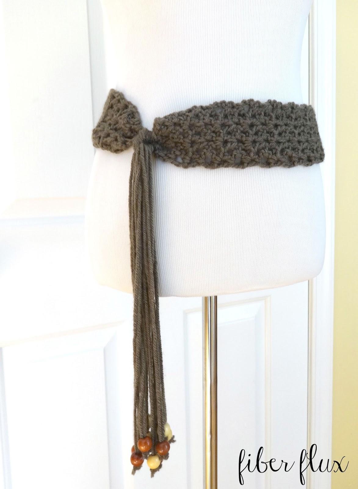 Fiber Flux Free Crochet Patternmodern Taupe Belt