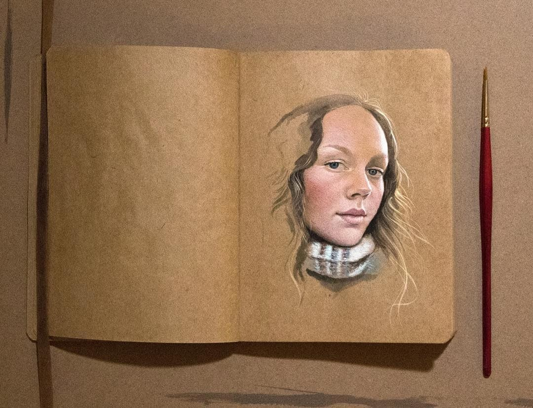 12-Raoof-Haghighi-Gouache-Acrylic-and-Watercolour-Paintings-on-a-Sketchbook-www-designstack-co