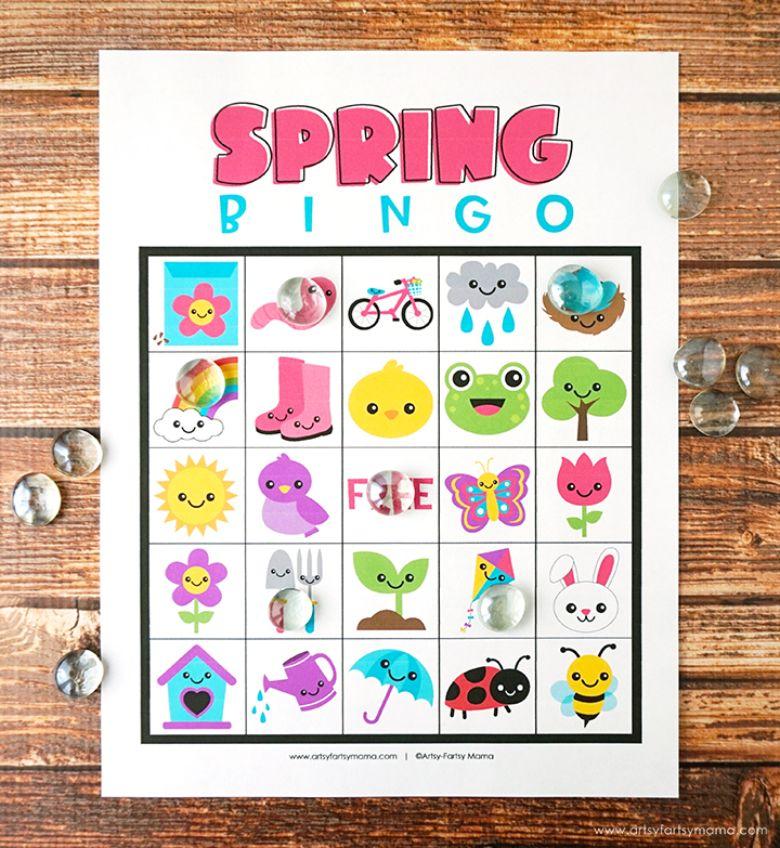 Spring bingo activity for kids