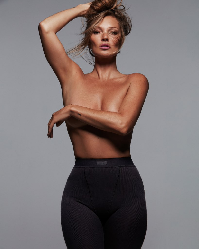 Kate Moss goes topless to pose for Skims