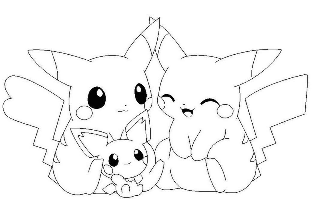 cute baby love pikachu and pichu coloring pages free printable