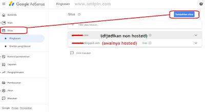 gambar upgrade adsense hosted ke non hosteed