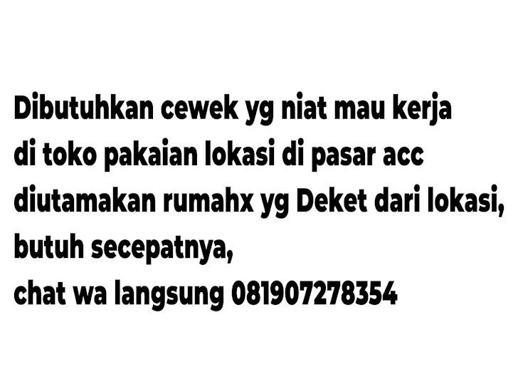 Lowongan Kerja Pasar Acc Ampenan Mataram Lombok NTB