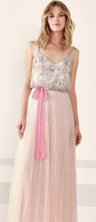 vestido largo de tirantes con brillos y tul plisado para coctel 2019