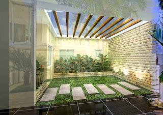 Desain mushola mungil di teras belakang rumah