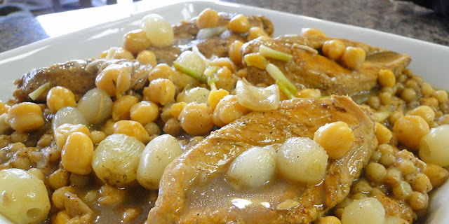 Lebanese couscous is quite different from the North African couscous Moughrabiyeh / Spiced Lebanese Couscous with Chicken, Lamb and Baby Onions Recipe