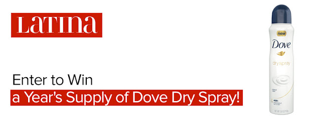 Latina Media is giving away a years supply of Dove Dry Spray Antiperspirant to TWO lucky winners. Enter daily for your chance to win!