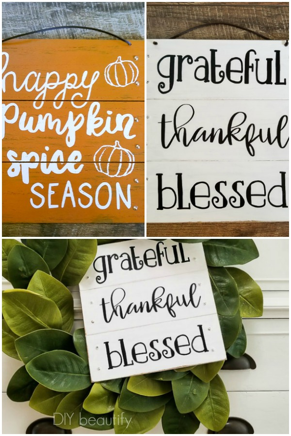 thrifty upcycled Fall sign before and after