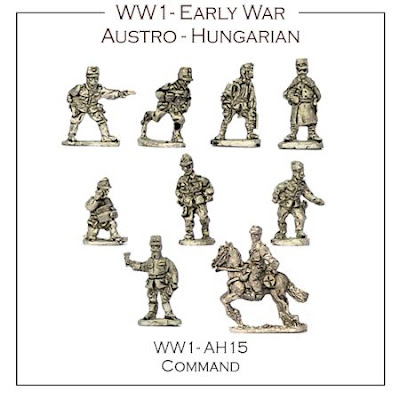 WW1-AH15 Austro-Hungarian Early War Command - (Approx 30 Figs)