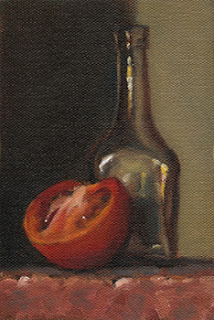 Still life oil painting of a small glass bottle beside a halved tomato.