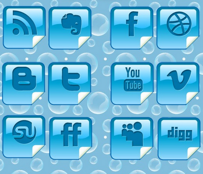 glossy blue peel over social icon set