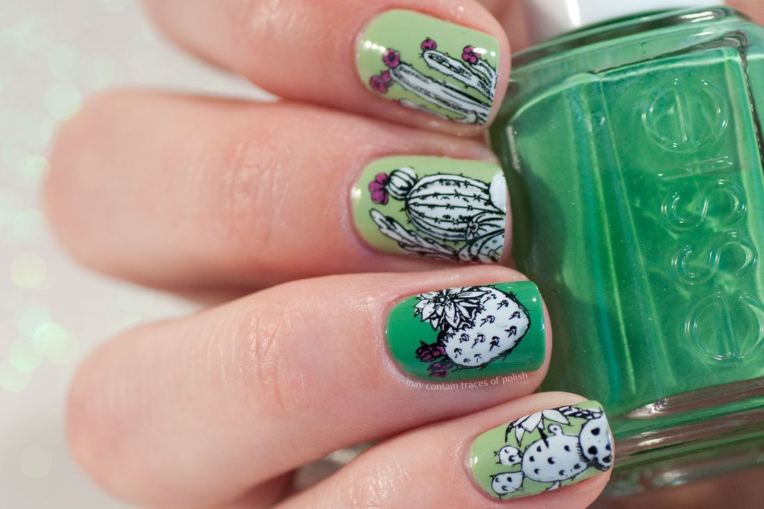 Cactus Nails with Botanicals Stamping from Maniology BM-S327