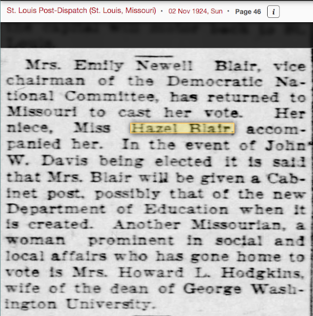 Mrs Emily Newell Blair and niece, news writer Hazel Blair, 1924 St. Louis Post-Dispatch article