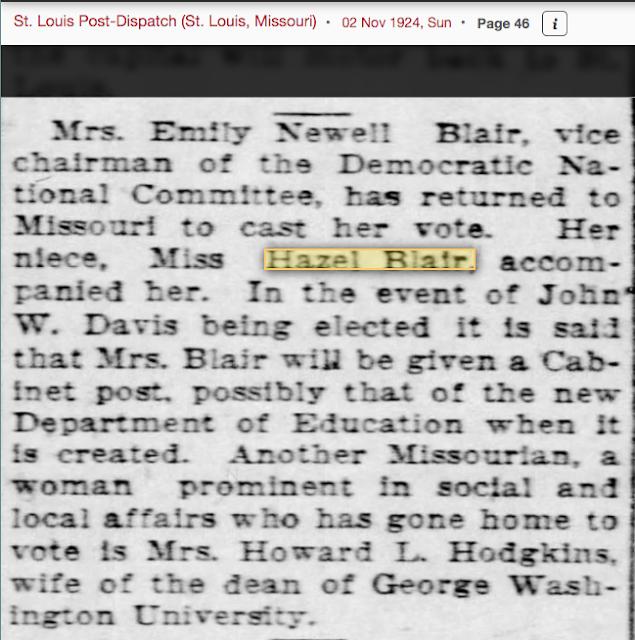 Mrs Emily Newell Blair and niece, news writer Hazel Blair, 1924 St. Louis Post-Dispatch article