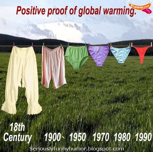 Positive proof of global warming - with underwear - 18th century to 1990