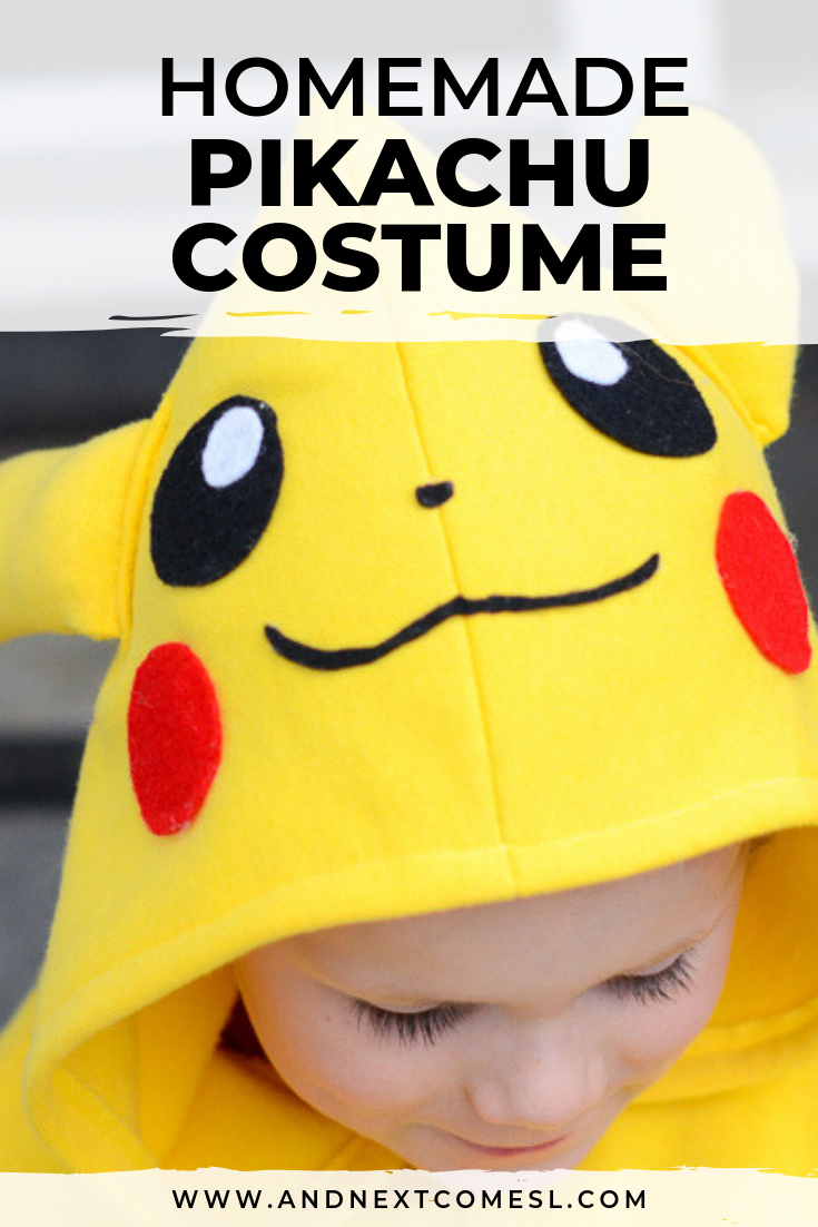 DIY tutorial for a homemade Pikachu costume that you can make for your kids' Halloween costume this year
