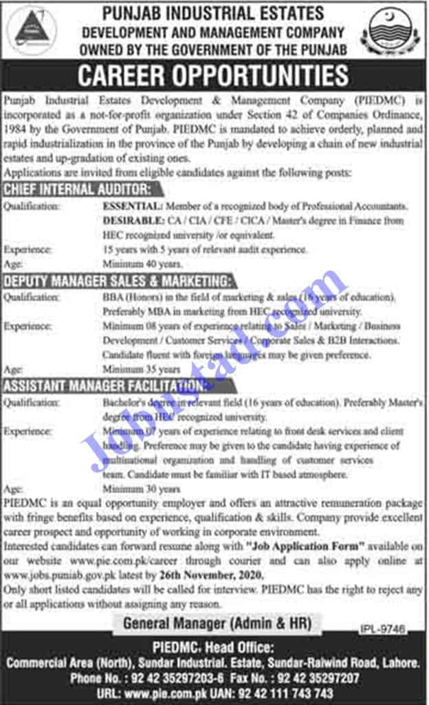 Jobs in Punjab Industrial Estates Development and Management Company Nov 2020