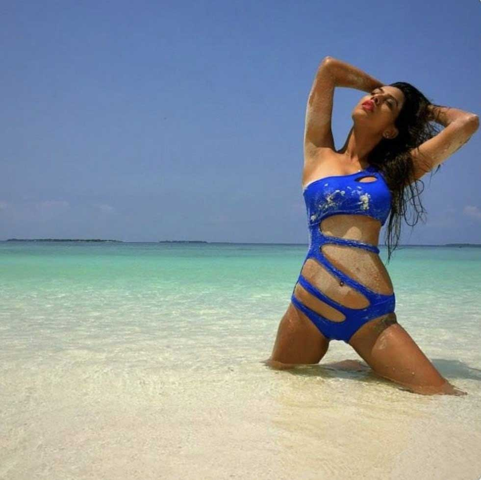 Nia Sharma Hot and Sexy in Blue Bikini Swimauit