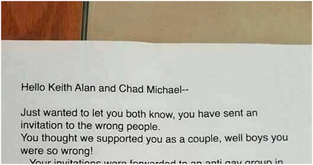 Gay couple gets hateful response from so called friends after gay couple gets hateful response from so called friends after sending out wedding invites stopboris Gallery
