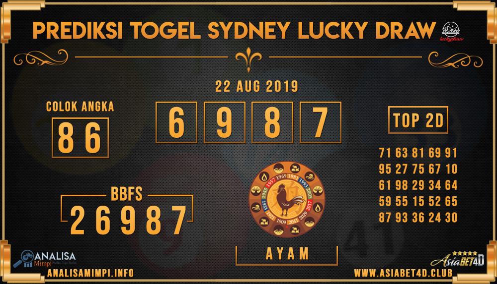 PREDIKSI TOGEL SYDNEY LUCKY DRAW 22  AUG 2019