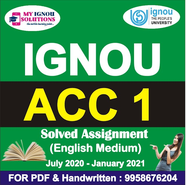 ACC 1 Solved Assignment 2020-21