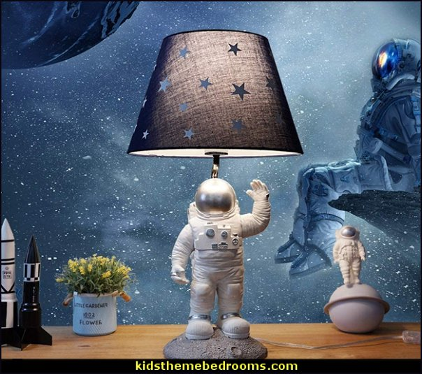 Astronaut Children's Room Desk Lamp   Outer space decor - space themed kids rooms - planets decor - astronaut wall murals  - outer space bedding - galaxy themed room decor - space themed bedding - planet wall decals - sci fi themed bedroom robots rockets monsters aliens - Star Wars Bedrooms -
