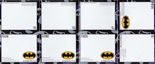 Back of first four Batman Valentine's Day cards