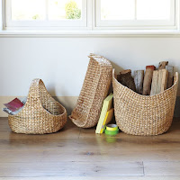 Decorative storage idea large curved basket made from wicker