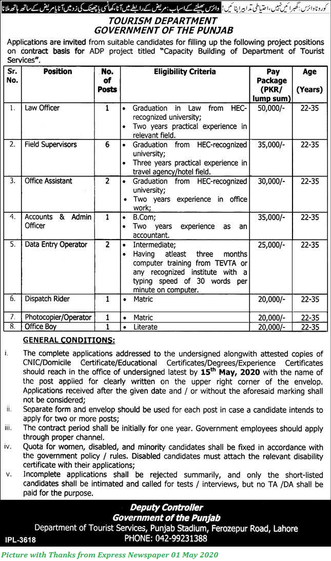 Govt of Punjab Jobs 2020 - Latest Jobs in Punjab Tourism Department Law Officer, Field Supervisors, Office Assistant and Others