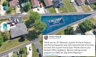 Air Force veteran paints his entire yard with huge Trump 2020 banner