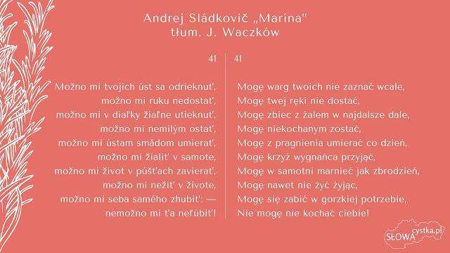 Andrej Sladkovic Marina strofa 41 tlumaczenie Jozef Waczkow