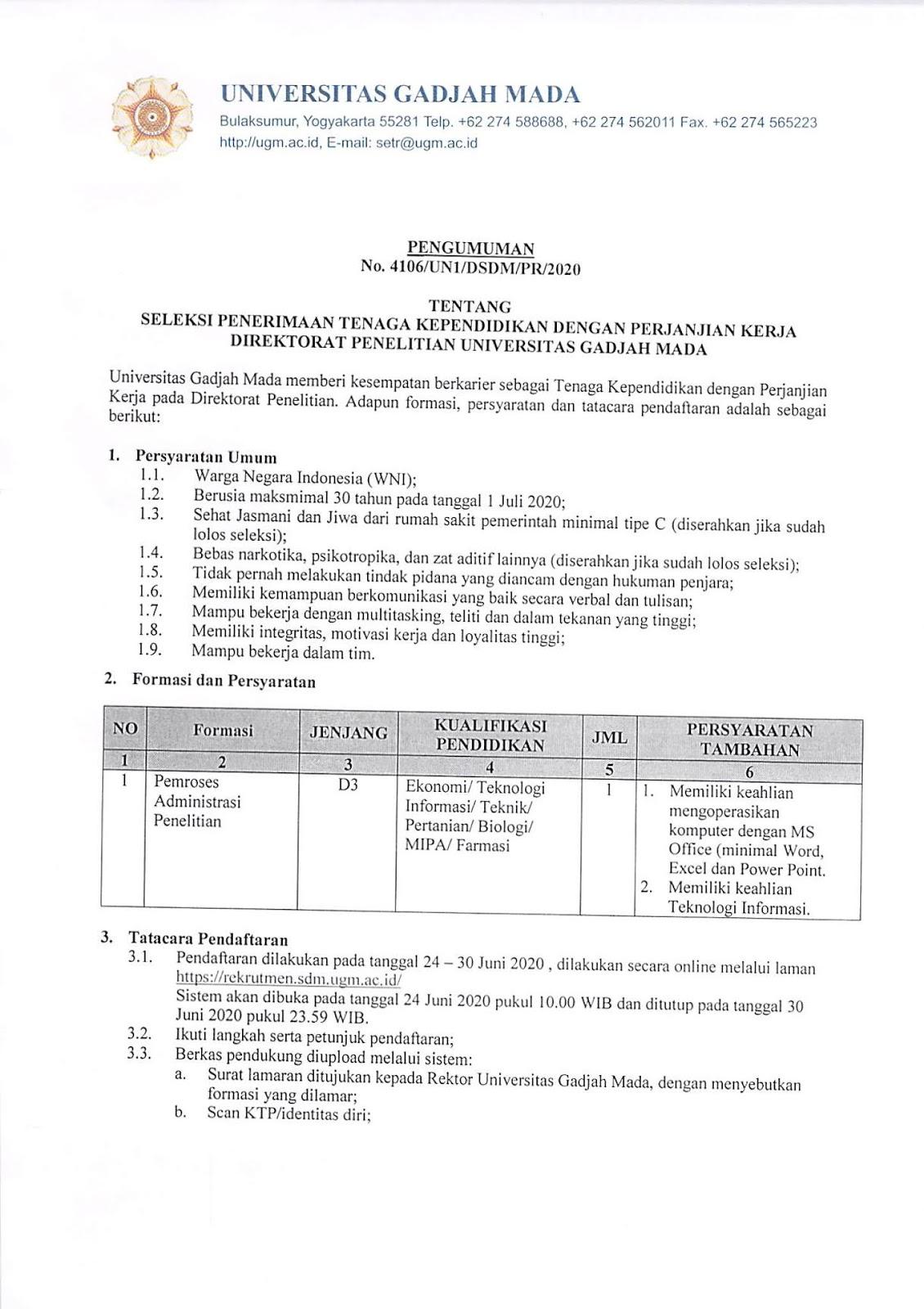 Seleksi Penerimaan Tenaga Kependidikan Dengan Perjanjian Kerja Direktorat Penelitian Universitas Gadjah Mada