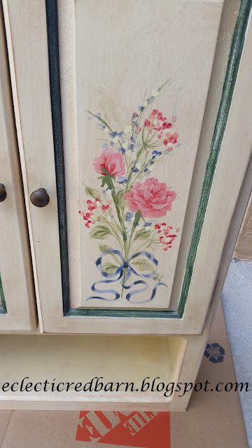 Eclectic Red Barn: Flowers on Curbside Cabinet