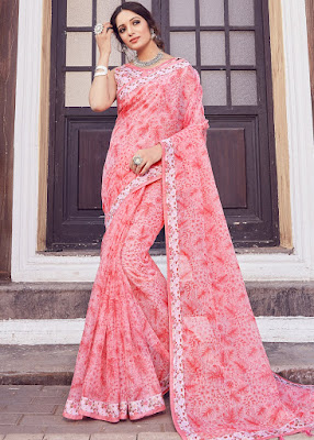 Peach Floral Printed Cotton indian party wear fancy saree