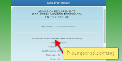 NOUN Admission Requirements - BSc Communication Technology