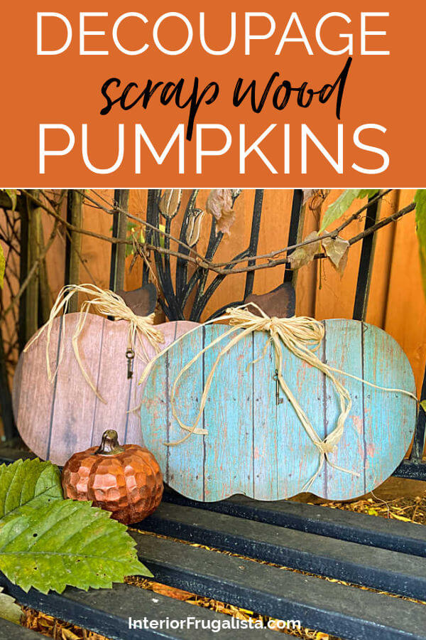 These rustic barn wood pumpkins by Interior Frugalista look like the real thing but they are faux wood. Made with recycled dollar store pumpkin signs and decoupage paper. #decoupagecrafts #pumpkindecorations
