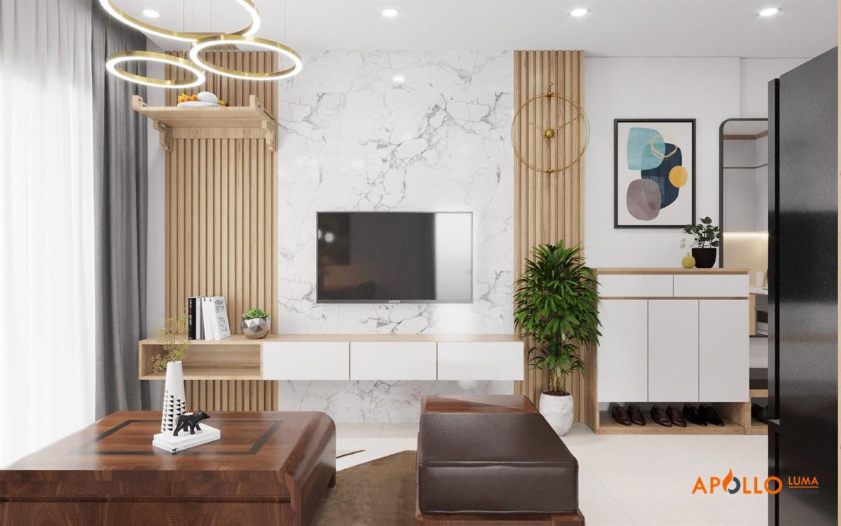 Thiết kế nội thất căn 65m2 (2PN+2WC) Vinhomes Ocean Park