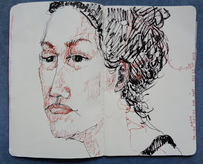 Portrait of Talitha Peacock, Pigma pens in 5x8 red sketchbook