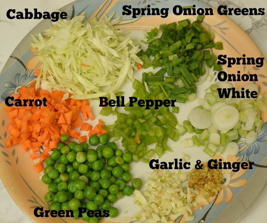 Veggies to make chicken fried rice