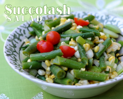 Succotash Salad with Green Beans, Lima Beans, Corn & Tomatoes, another easy summer salad ♥ AVeggieVenture.com. Low Carb. Gluten Free. Paleo. Weight Watchers Friendly. Vegan.