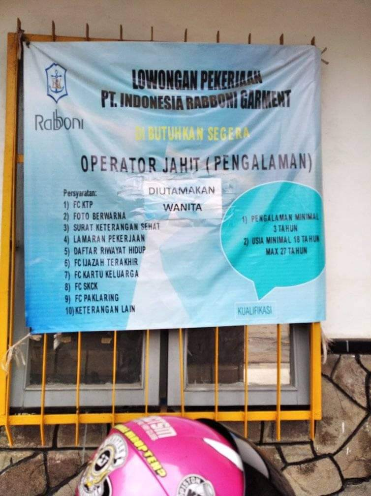 Lowongan Pekerjaan PT. Indonesia Rabboni Garment