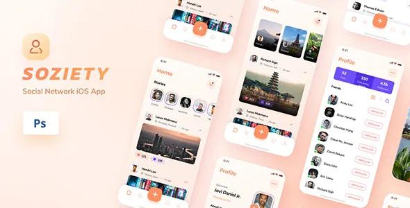 Best Social Network iOS App Design PSD Template