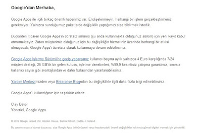 Webmasterlara kötü haber: Google Apps ücretli oldu