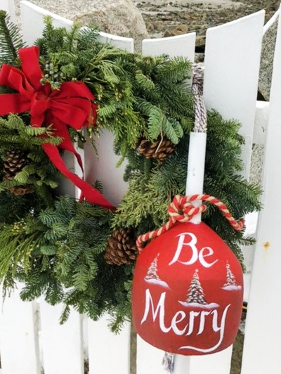 Nautical Christmas Buoy Be Merry Painted