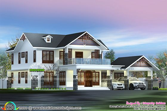 4 BHK sloping roof Kerala home 2750 sq-ft